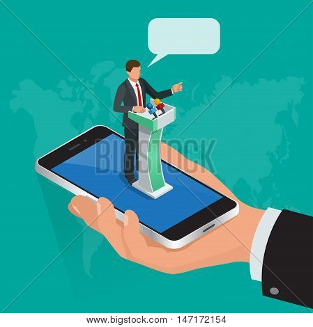 Isometric concept Internet communication, webinar online training education, professional online lectures. Flat style. Messaging, video conversations, conference chat, distance learning