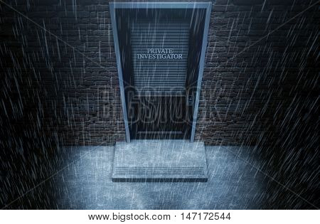 Private Eye Door Outside Rain