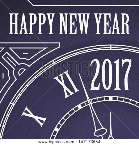 Happy New Year 2017 Clock Vector Illustration