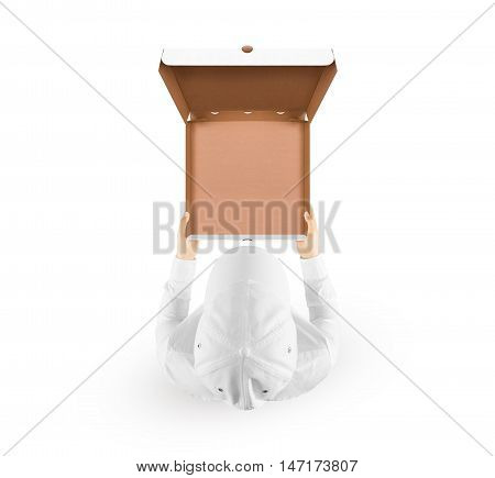 Delivery man holding empty meal box mockup in hand isolated on white, top view, clipping path. Deliver guy in clear uniform hold opened box mock up. Food packaging template.