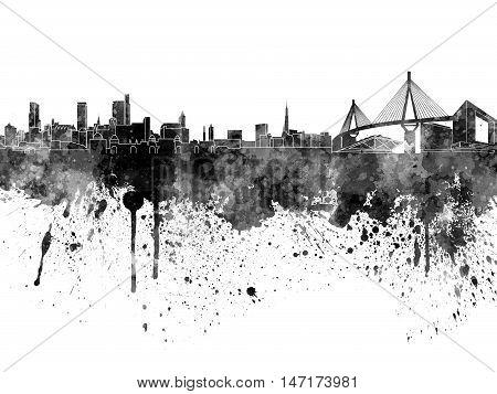 Hamburg Skyline In Black Watercolor On White Background