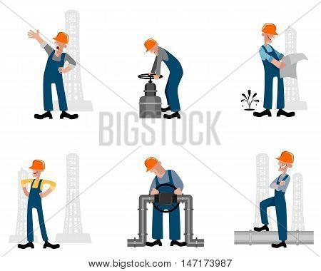 Vector illustration of a six oilman set