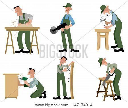 Vector illustration of a woodwork professionals set