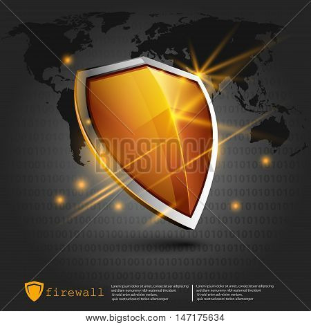 firewall shield backdround. internet security. shield on the background of the map represents a danger