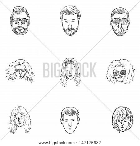 Vector Set of Sketch Hairstyles Icons. Hair Beard Mustache. Mens and Womens Hairstyles.