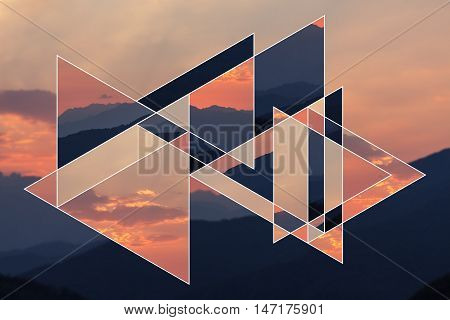 Image of the forest, mountains at the sunset and the sacred geometry symbol, collage