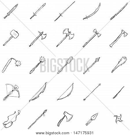 Vector Set Of Sketch Medieval Weapon Icons