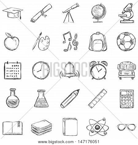 Vector Set Of 25 Sketch School Icons
