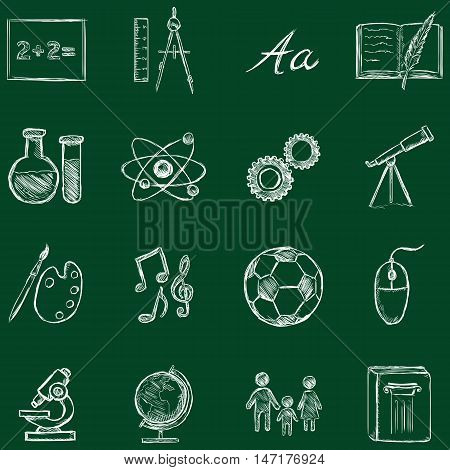 Vector School Subjects Icons.
