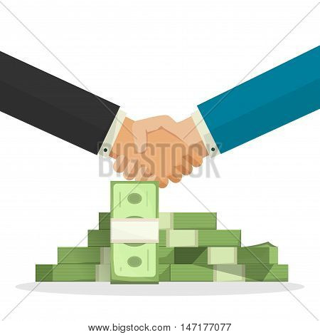 Handshake near money pile vector illustration, cartoon businessman shaking hands with cash, concept of good business deal, success finance agreement, partnership