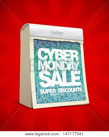 Cyber monday sale design, super discounts, tear-off calendar illustration