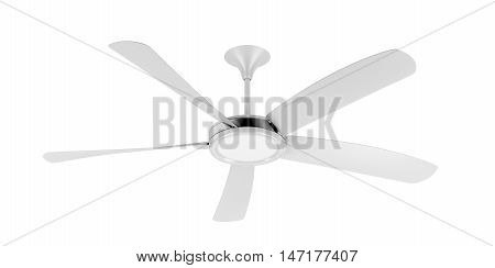 Ceiling fan isolated on white background, 3D illustration