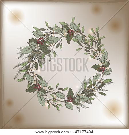 Color vintage Christmas card template with mistletoe and pine wreath decorations. Based on hand drawn sketch. Great for greeting cards and holiday design.