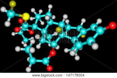 Fluticasone propionate belongs to a class of drugs known as corticosteroids which are hormones that predominantly affect the metabolism of carbohydrates. 3d illustration