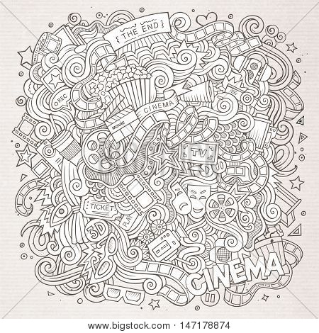 Cartoon cute doodles hand drawn cinema frame design. Line art detailed, with lots of objects background. Funny vector illustration. Sketchy border with movie theme items