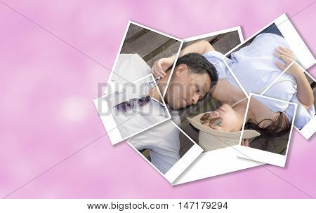 Photo frame of beautiful woman and handsome man of romantic couple are sprawl on wooden bridge with color tone effect