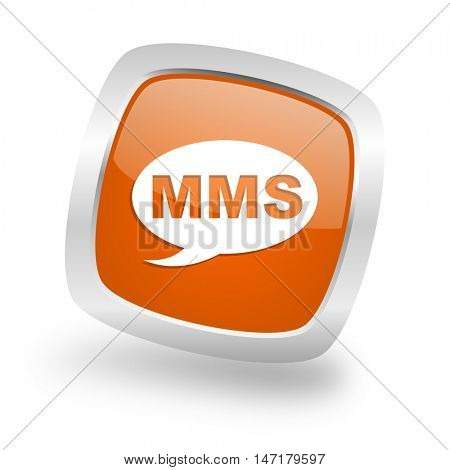 mms square glossy orange chrome silver metallic web icon