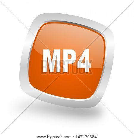 mp4 square glossy orange chrome silver metallic web icon
