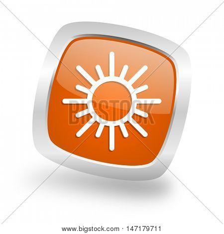 sun square glossy orange chrome silver metallic web icon