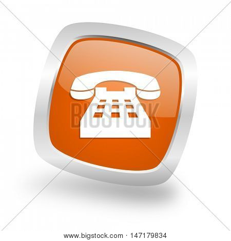 phone square glossy orange chrome silver metallic web icon