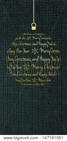 merry christmas and happy new year card vector holiday banner with dark cyan textured background