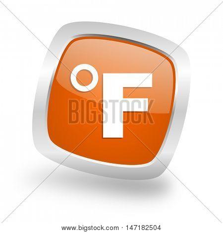 fahrenheit square glossy orange chrome silver metallic web icon