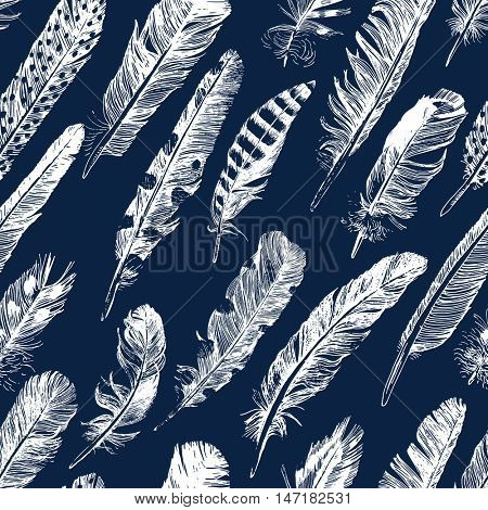 seamless pattern with white hand drawn feathers on blue background