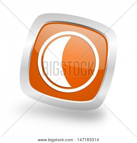 moon square glossy orange chrome silver metallic web icon