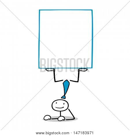 Cartoon business man doing handstand with empty white sign