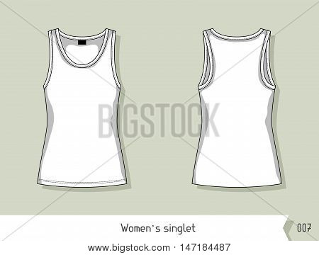 Women singlet. Template for design, easily editable by layers.