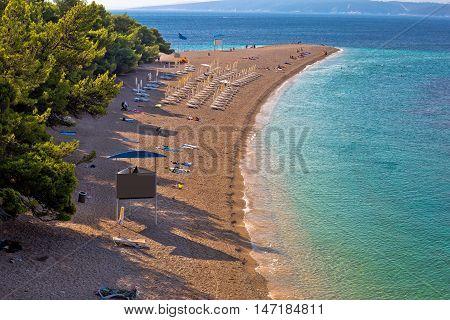 Famous Zlatni Rat beach on Brac island view Bol Dalmatia Croatia