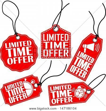 Limited Time Offer Red Tag Set, Vector Illustration