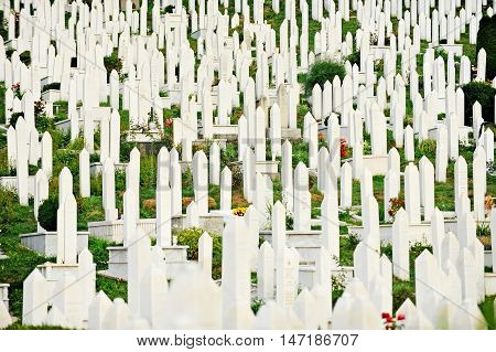 Muslim graves in the cemetery dedicated to the victims of the Siege of Sarajevo