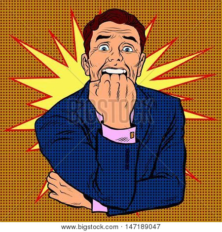 retro man in horror bites fist, pop art vector illustration. The stress and emotions of a businessman