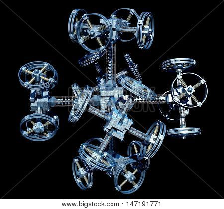 3d Illustration of a space station with multiple gravitational wheels for games, futuristic deep space travel or science fiction backgrounds, with the clipping path included in the file.
