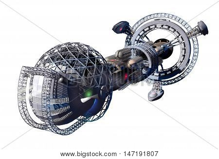 3d rendering of spaceship or space lab for fantasy or interstellar deep space travel backgrounds, with the clipping path included in the file.