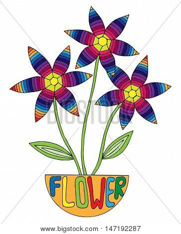 Multicolor abstract flower with leaves for adult or child coloring book and pages. Mono color black line art element for design.
