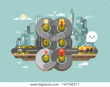 Confused transport hub. Circular traffic crossroad in big city. Vector illustration