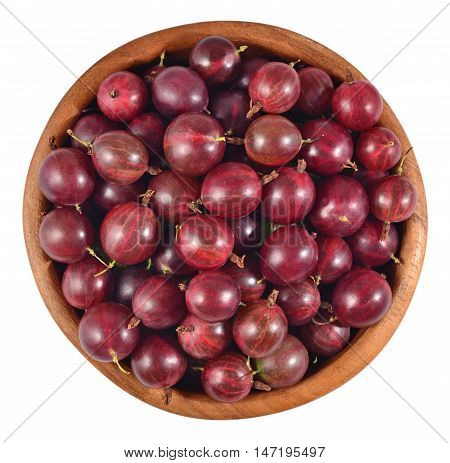 Fresh Red Gooseberry In A Wooden Bowl On A White