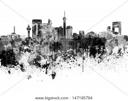 Jeddah Skyline In Black Watercolor On White Background