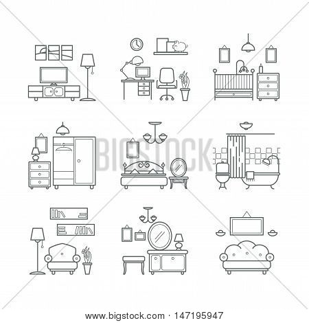 Home room icons set. Interior design room types. Living room, bedroom, bathroom, work space for your design