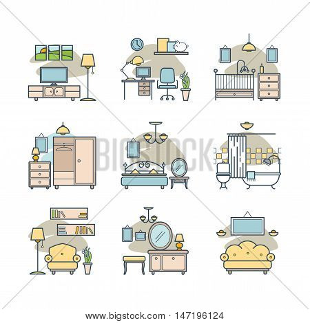 Home room icons set for your design
