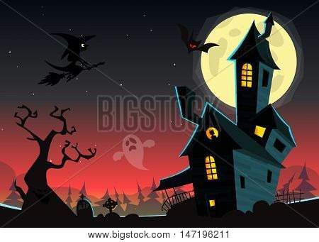 Halloween haunted moonlight night background with spooky house and cemetery can be use as flyer banner or poster for night parties