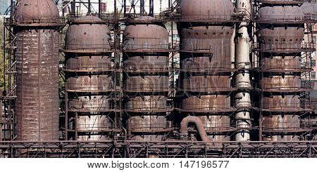 Steel construction of the blast furnace on the plant