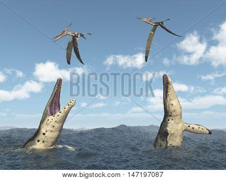 Computer generated 3D illustration with the extinct pliosaur Kronosaurus attacking the extinct pterosaur Pteranodon