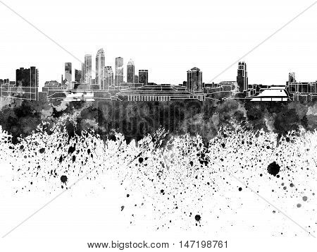 Tampa Skyline In Black Watercolor On White Background