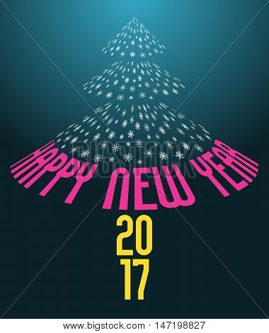 happy new year 2017 card vector holiday dark cyan background with abstract christmas tree from snowflakes and text isolated illustration