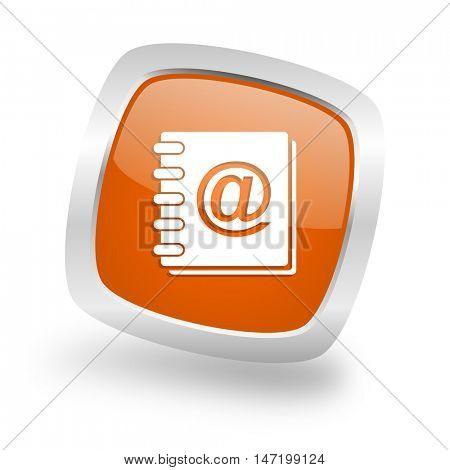 address book square glossy orange chrome silver metallic web icon