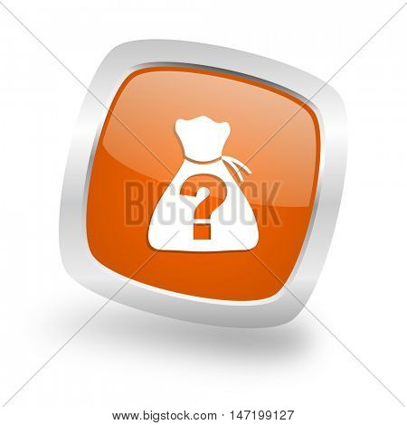 riddle square glossy orange chrome silver metallic web icon