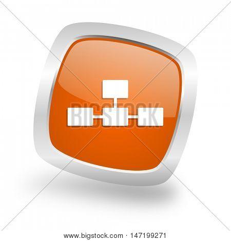 database square glossy orange chrome silver metallic web icon